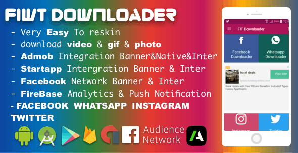 Facebook Instagram WhatsApp Twitter Downloader With Admob