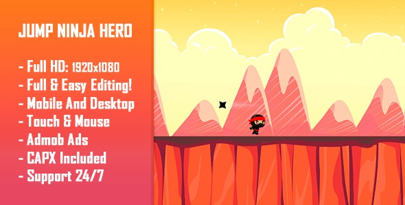 Jump Ninja Hero - HTML5 Game + Mobile Version! (Construct 2 / Construct 3 / CAPX) - CodeCanyon Item for Sale