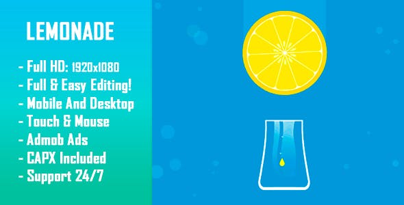 Lemonade - HTML5 Game + Mobile Version! (Construct-2 CAPX)