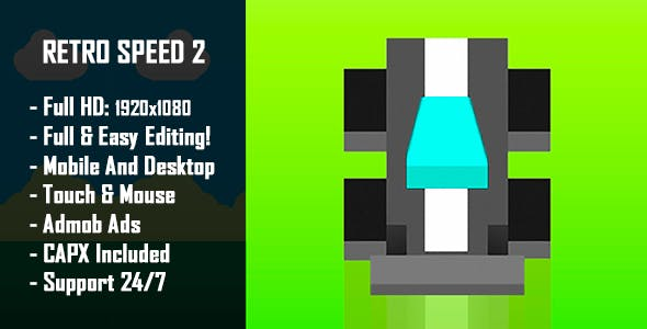 Retro Speed 2 - HTML5 Game + Mobile Version! (Construct-2 CAPX)