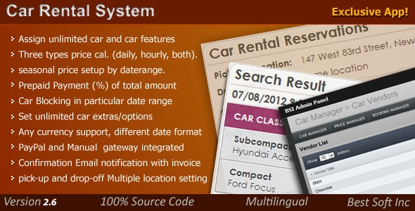 Car Rental System - CodeCanyon Item for Sale
