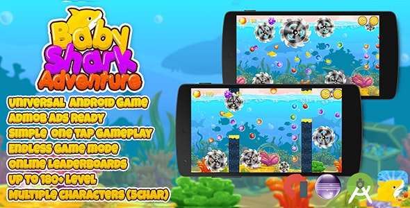 Baby Shark Adventure + Admob (Android Studio + Eclipse) Multiple Characters - CodeCanyon Item for Sale