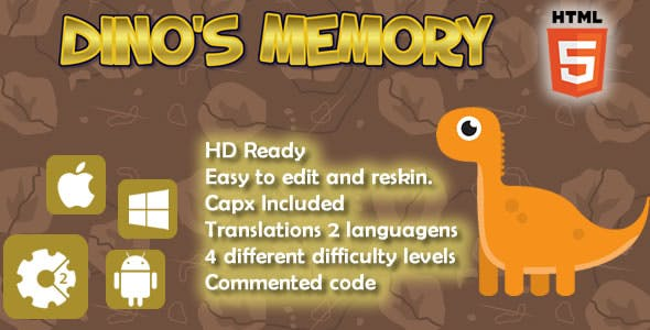 Dino's Memory - HTML5 Game (Capx)