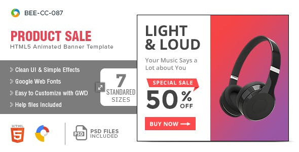 Product Sale HTML5 Banners - 7 Sizes