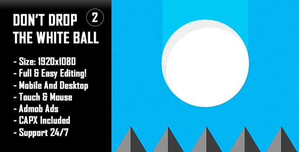 Don't Drop The White Ball 2 - HTML5 Game + Mobile Version! (Construct-2 CAPX) - CodeCanyon Item for Sale