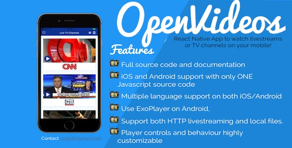 OpenVideos - React Native App (Android/iOS) for TV Channels and livestreams - CodeCanyon Item for Sale