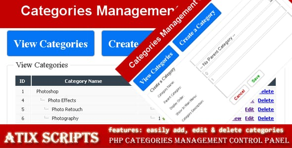 Manage categories of hierarchic content