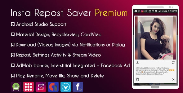 Instagram Repost Downloader Premium + Facebook Audience Network with Native Ads + GDPR - CodeCanyon Item for Sale