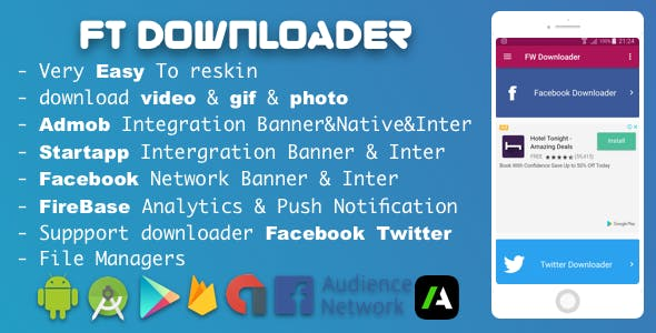Facebook Twitter Downloader With Admob , Facebook Network ADS and Startapp Sdk 2018