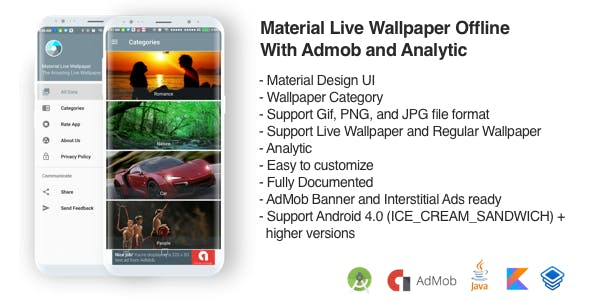 Material Wallpaper Offline With AdMob and Analytic (Support Gif)