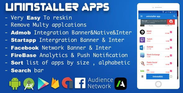 Uninstaller/Remover Applications With Amob , Facebook network ads and startapp