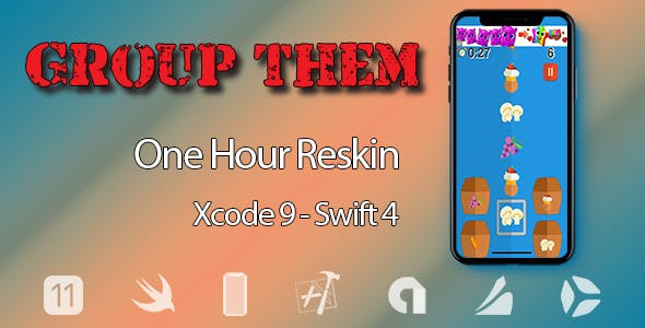 Group Them - One Hour Reskin - iOS 11 and Swift 4 ready