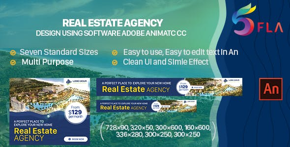 Real Estate Agency HTML5 Ad Banners - 7 sizes  (Animate CC)