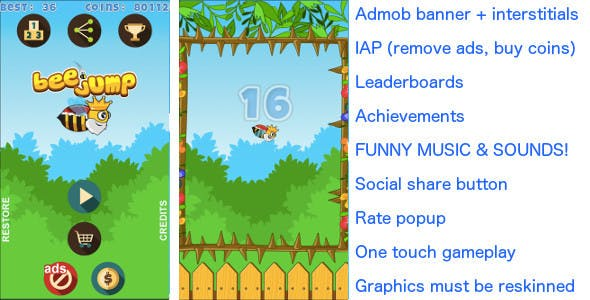 Bee Jump Android & iOS universal! Ads & IAP included!