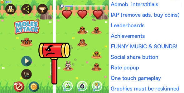 Whack a mole! Android & iOS universal! Ads & IAP included!