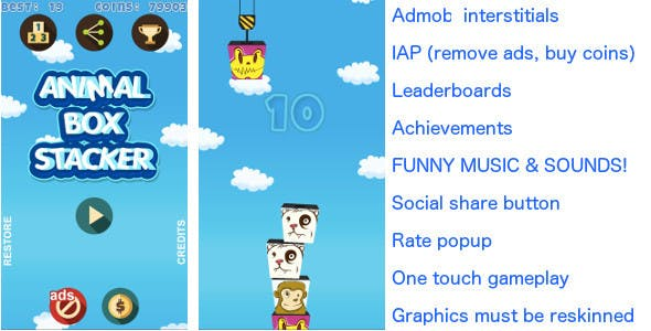 Tower Build FUNNY! Android & iOS universal! Ads & IAP included!