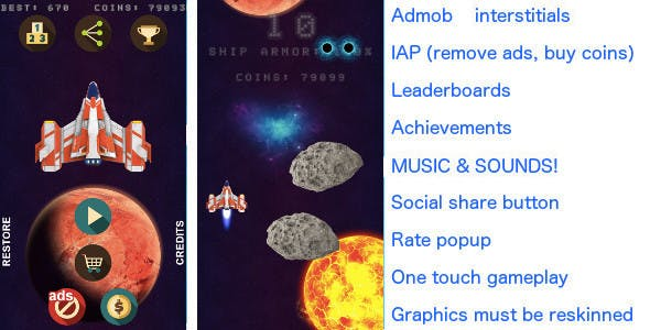 Asteroids Rain iOS & Android universal! Ads & IAP included!