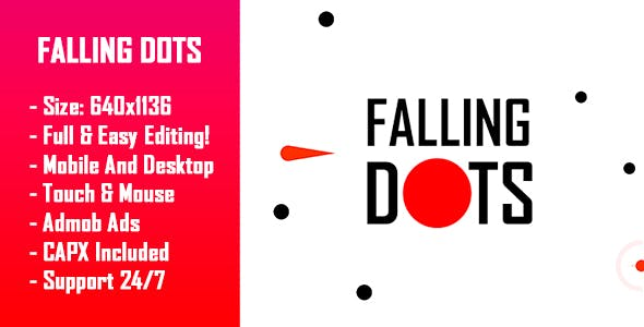 Falling Dots - HTML5 Game + Mobile Version! (Construct-2 CAPX)