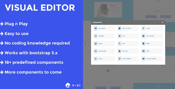 Visual editor - A drupal 8.x page/block builder