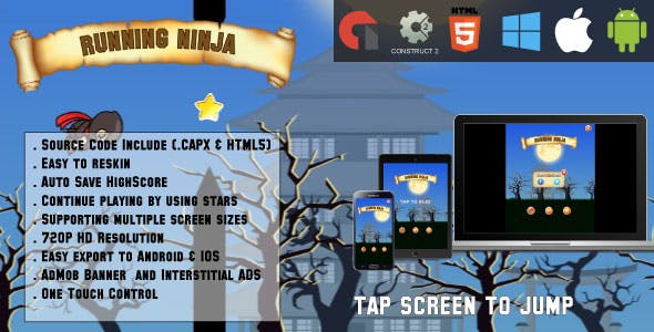 Running ninja - HTML5 Game - Android & IOS + AdMob (CAPX)