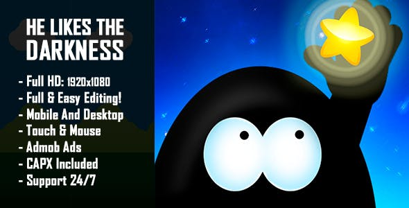 He Likes The Darkness - HTML5 Game + Mobile Version! (Construct 2 / Construct 3 / CAPX)