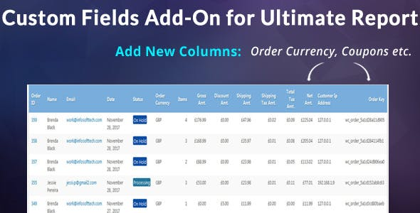 Custom Fields Add-on For WooCommerce Ultimate Reports