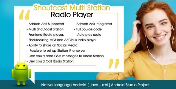Shoutcast Multi Station Radio Player Android Admob Ads