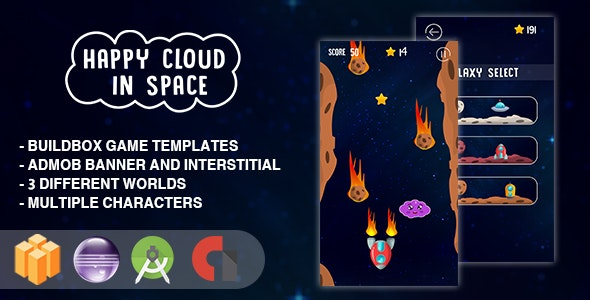 Happy Cloud In The Space - Buildbox Template ( BBDOC + Android Studio + Eclipse + Xcode ) - CodeCanyon Item for Sale
