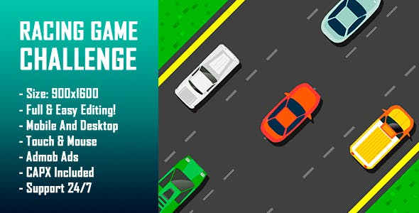 Racing Game Challenge - HTML5 Game + Mobile Version! (Construct-2 CAPX)