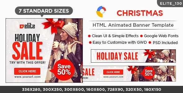 Christmas HTML5 Banners - 7 Sizes