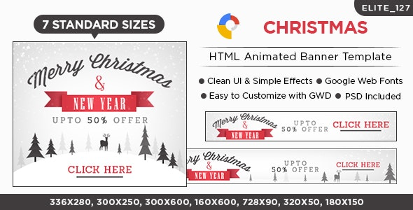 Christmas HTML5 Banners - 7 Sizes - CodeCanyon Item for Sale