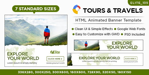 Tours & Travel HTML5 Banners - 7 Sizes