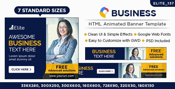 Business & Marketing HTML5 Banners - 7 Sizes - CodeCanyon Item for Sale