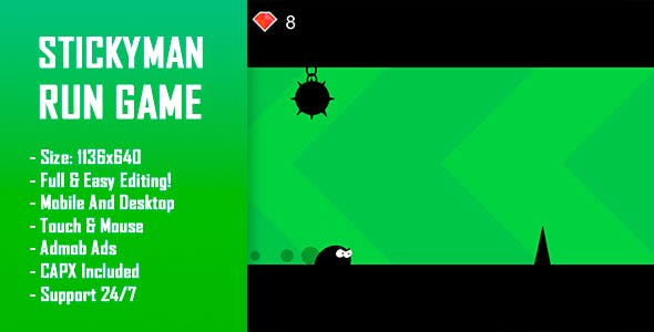 Stickyman Run - HTML5 Game + Mobile Version! (Construct-2 CAPX)