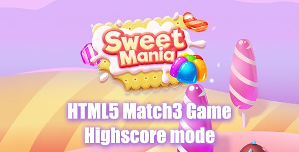 Sweet Mania Match3 HTML5 Game