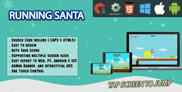 Running Santa - Full Screen HTML5 Game - Web,Android & IOS + AdMob (CAPX)