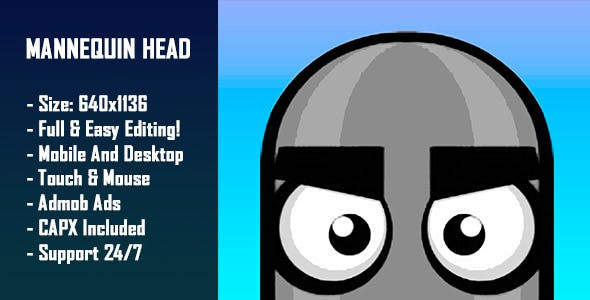 Mannequin Head - HTML5 Game + Mobile Version! (Construct-2 CAPX)