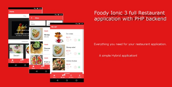 Foody Ionic 3 Full Restaurant App - CodeCanyon Item for Sale