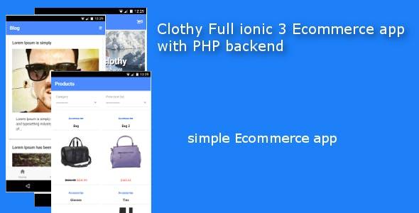 Clothy Ionic 3 Ecommerce App