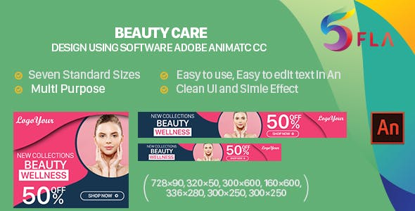 Beauty Care HTML5 Ad Banners - 7 size (Animate CC)