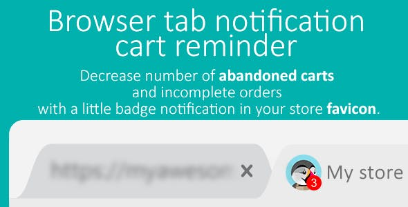 Browser tab badge notification - cart reminder