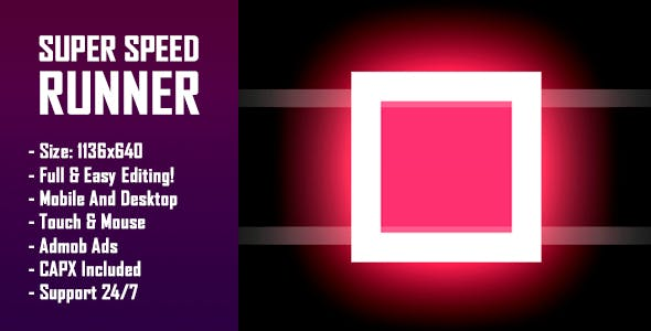 Super Speed Runner - HTML5 Game + Mobile Version! (Construct-2 CAPX)