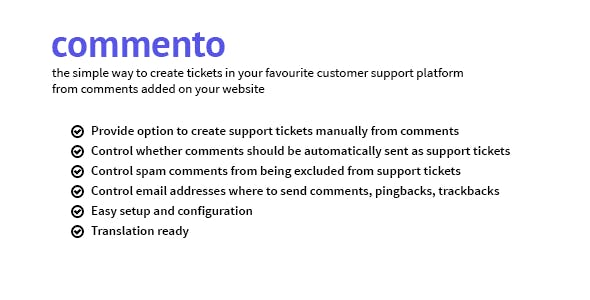 Commento - Convert comments into support tickets