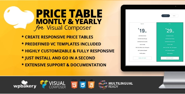 Price Table Monthly & Yearly Addon for WPBakery Page Builder (formerly Visual Composer) - CodeCanyon Item for Sale