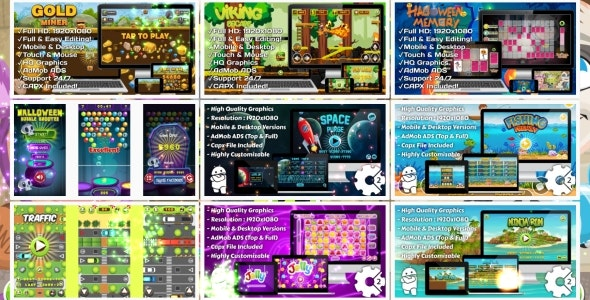 HTML5 GAMES BUNDLE №6 (Construct 3 | Construct 2 | Capx) - CodeCanyon Item for Sale