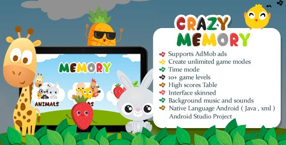 Crazy Memory Game - Match Game  - Android Game with Admobs Ads