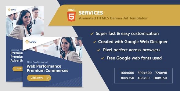 HTML5 Animated Banner Ads - Business Services (GWD) - CodeCanyon Item for Sale