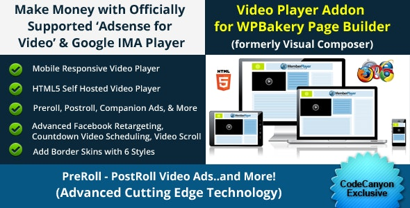 WP Bakery Addon - Adsense for Video / Google IMA HTML Video Player