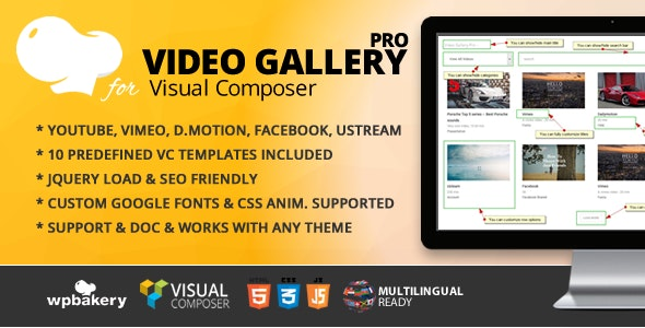 Video Gallery Pro jQuery Addon for WPBakery Page Builder (formerly Visual Composer) - CodeCanyon Item for Sale
