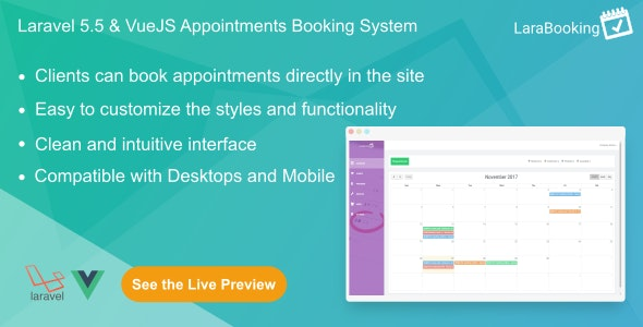 LaraBooking - Laravel Appointments Booking System - CodeCanyon Item for Sale
